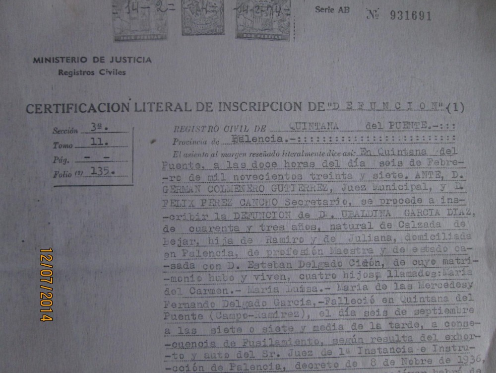 Ubaldina García Díaz, maestra de La República (3/6)