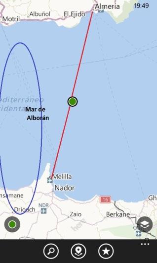 Ruta sobre el Mar de Alborán