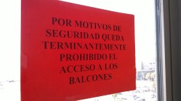 Acceso prohibido a balcones