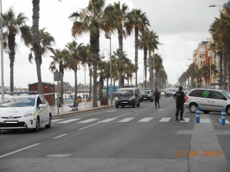 Corte dde tráfico en el Paseo Marítimo