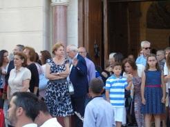 Presidente Imbroda, a la salida del templo