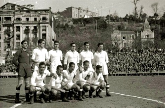 Real Madrid en 1944, partido con la Real Sociedad