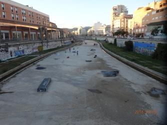 Málaga, canalización del Guadalmedina