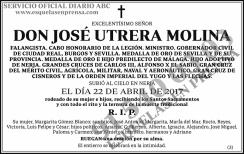 Esquela de José Utrera Molina
