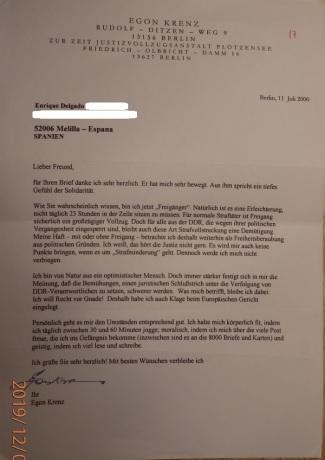 Carta de Egon Krenz